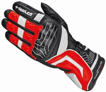 Held Revel Goatskin Leather Motorcycle Motorbike Sports Gloves - Black Red